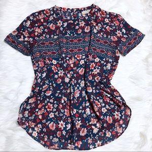 NWOT Loft Floral Print Short Sleeve Top